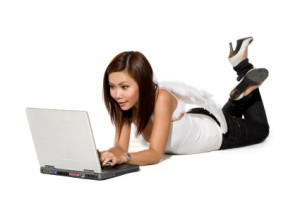 angel woman working on laptop